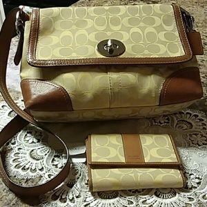 Coach Signature Shoulder Bag & Wallet Yellow